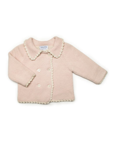 Reversible Scalloped Cashmere Cardigan, Pink, Baby
