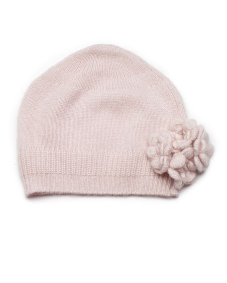 Cashmere Knit Flower Hat, Pink, Baby