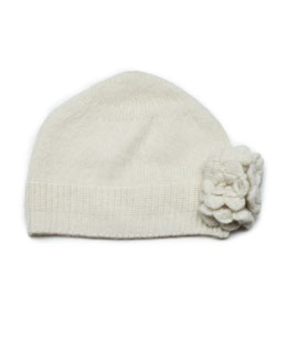 Baby CZ Cashmere Knit Flower Hat, Cream, Baby