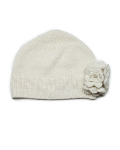 Cashmere Knit Flower Hat, Cream, Baby