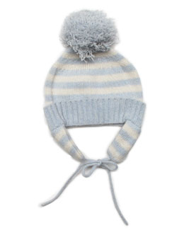 Striped Cashmere Pom-Pom Hat, Blue/White, Baby