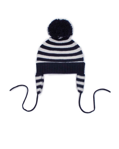 Striped Cashmere Pom-Pom Hat, Navy/White, Baby