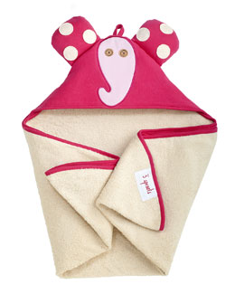 3 Sprouts Elephant Hooded Towel, Pink
