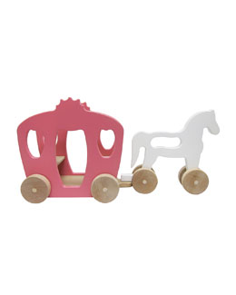 Horse and Carriage Wooden Push Toy