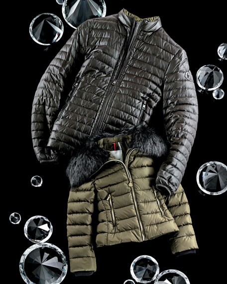 Fur-Trimmed Quilted Down Coat, Green