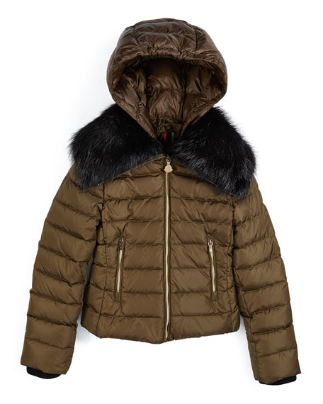 596a4ea3bd4 Moncler Fur-Trimmed Quilted Down Coat