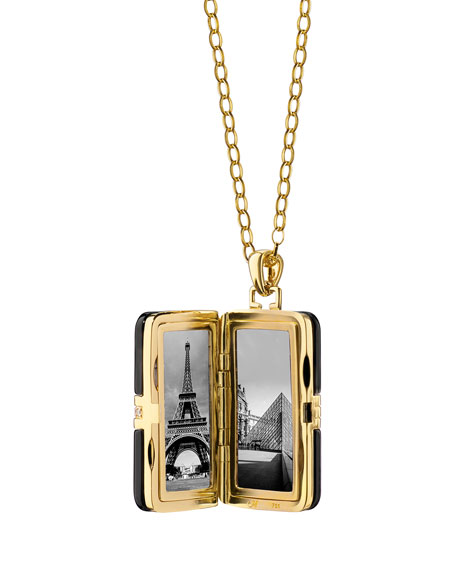 "18k Ceramic Rectangle Locket with Diamonds, 32""L"