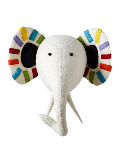 Striped Elephant Head Wall Mount