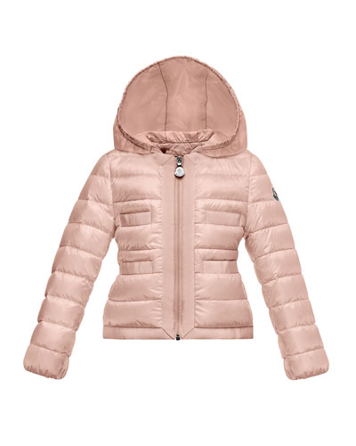 Alose Hooded Lightweight Down Puffer Coat, Pink, Size 8-14