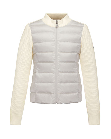 Mixed-Media Quilted-Front Sweater, White, Size 2-6