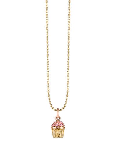 Pink Sapphire Cupcake Pendant Necklace