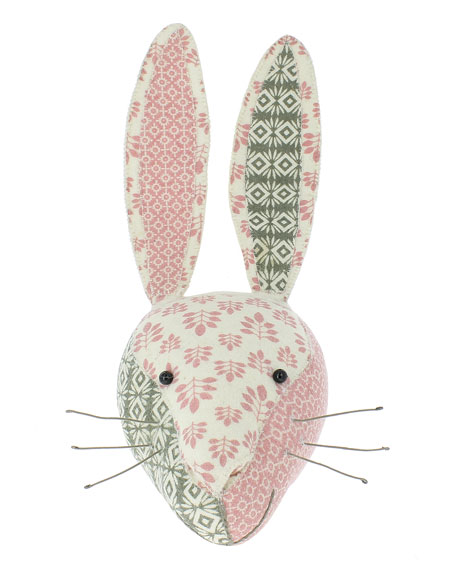 Patchwork Rabbit Head Wall Mount, Gray/Pink