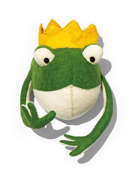 Frog Prince Head Wall Mount, Green