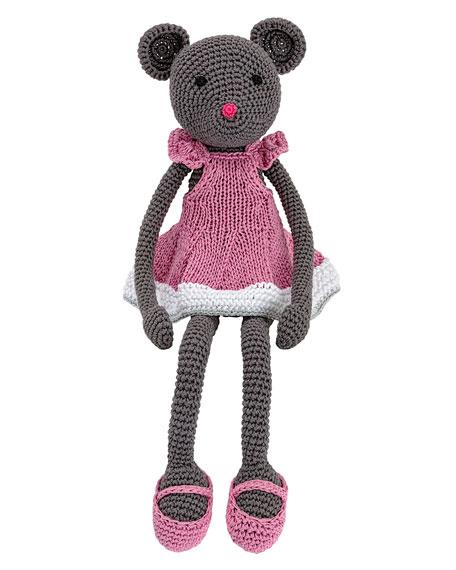 Crocheted Dorian Gray Mouse Stuffed Animal, Pink