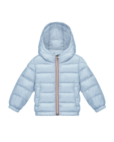 Dominic Hooded Lightweight Down Puffer Coat, Light Blue, Size 12M-3
