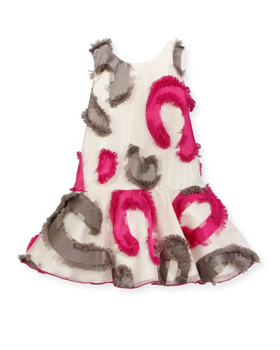 Sleeveless Patterned Fringe Tulle Dress, Multicolor, Size 7-16
