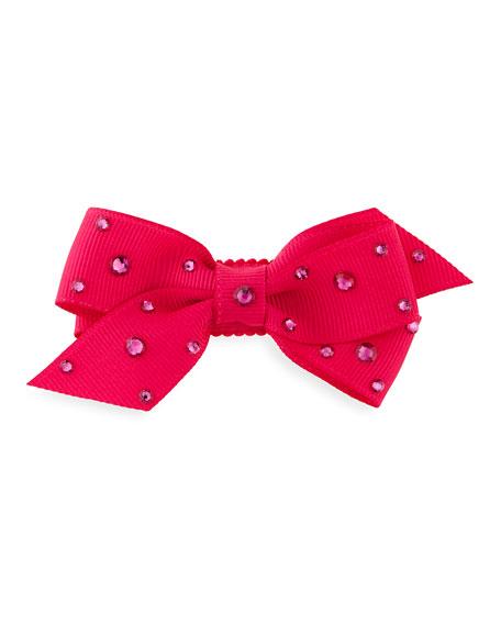 Bari Lynn Crystal Mini Snap-Clip Hair Bow, Fuchsia