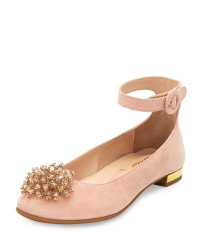 Monaco Suede Ballerina Flat, Pink, Youth