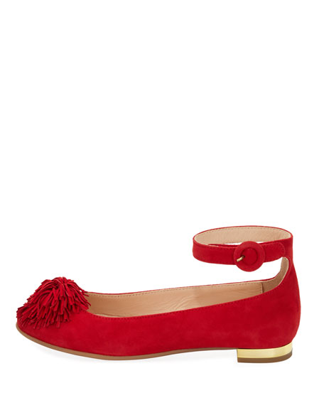 Sunshine Suede Ballerina Flat, Red, Youth