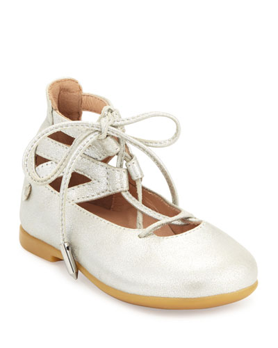 Belgravia Baby Leather Ballerina Flat, Silver, Youth