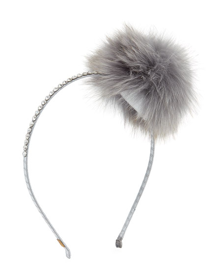 Bari Lynn Girls Rhinestone & Fox Fur Pompom Headband, Black