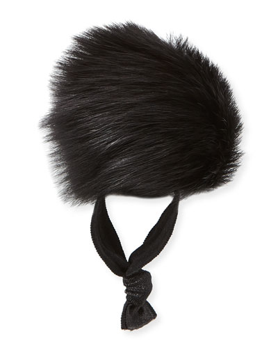 Fur Pompom Ponytail Holder, Black