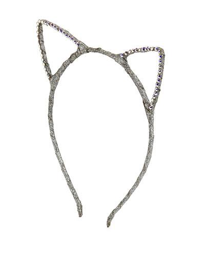 Girls' Glittered Cat-Ear Headband, Silver