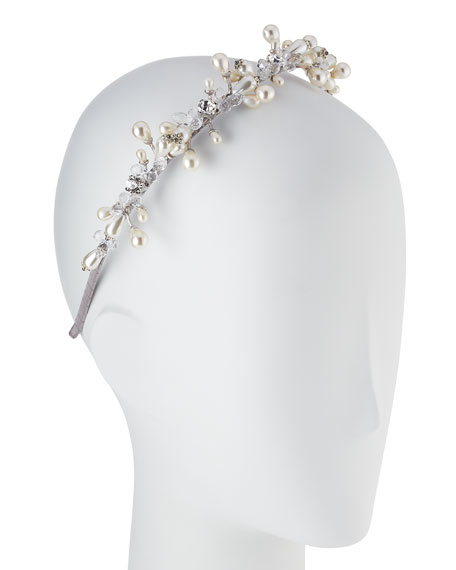 Girls' Jeweled Headband, Silver/White