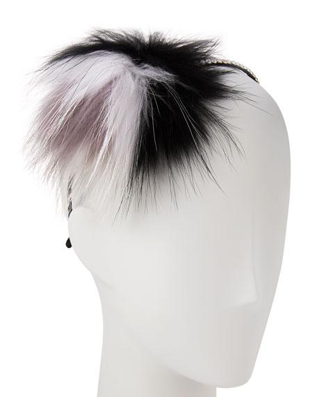 Rhinestone & Fox Fur Headband, Black