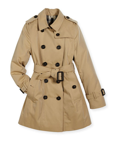 Double-Breasted Cotton Trenchcoat, Tan/Camel
