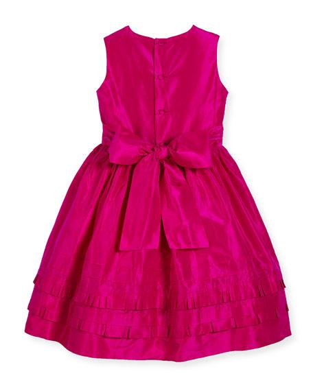 Sleeveless Tiered Silk Taffeta Party Dress, Pink, Size 4-14