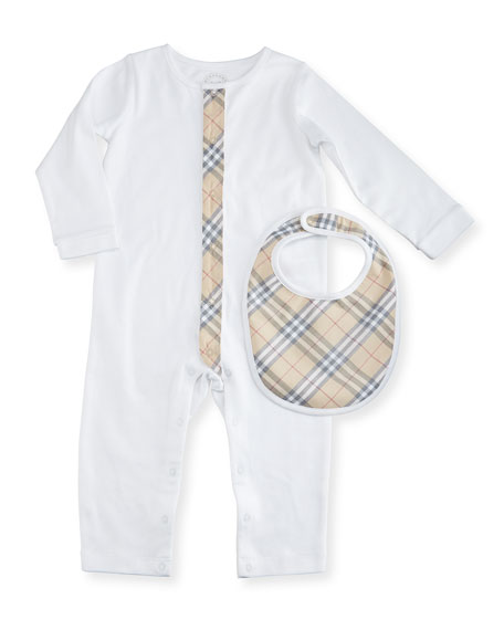 Merry Cotton Jersey Coverall w/ Bib, White, Size 3-24 Months