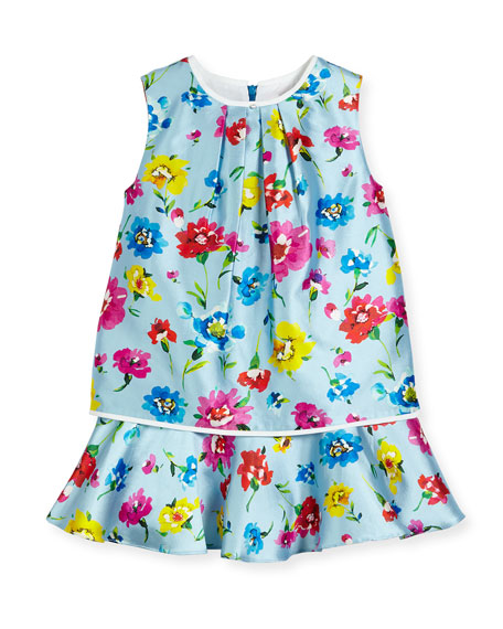 Oscar de la Renta Sleeveless Scattered Flower Mikado