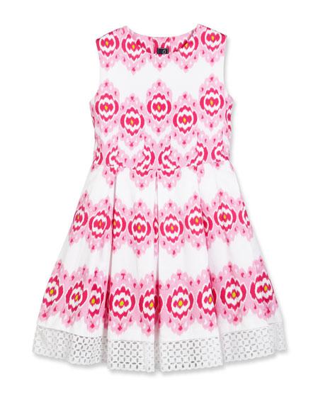 Cotton Ikat Eyelet-Trim Party Dress, Pink, Size 2-14