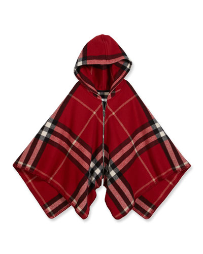 Vickie Hooded Check Poncho, Red, Size M-L