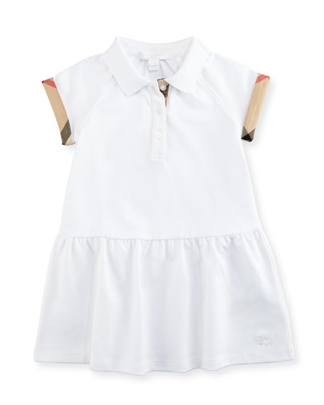 Cali Smocked Raglan Polo Dress, White, Size 6M-3Y