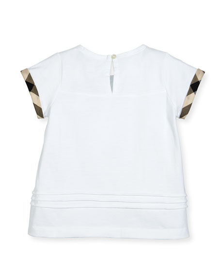 Gisselle Pintucked Jersey Tee, White, Size 6M-3
