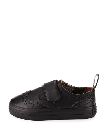 Mostyn Leather Grip-Strap Oxford, Black, Toddler