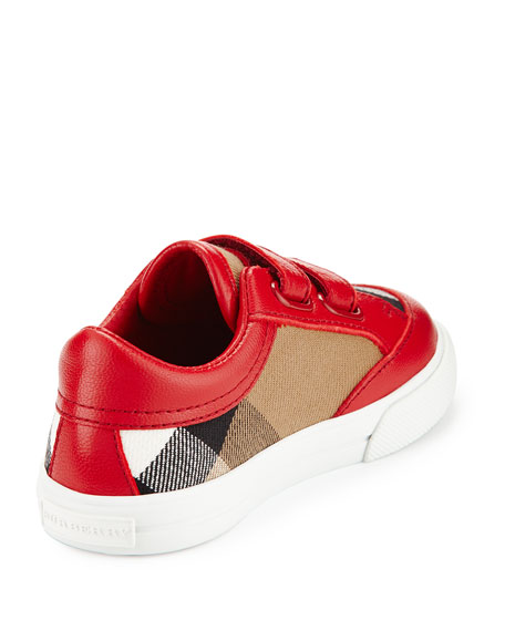 Heacham Check Canvas Sneakers, Red/Tan, Baby