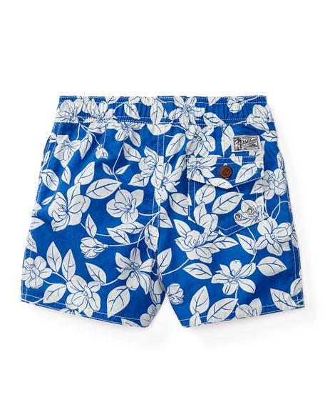 Floral Swim Trunks, Blue, Size 9-24 Months