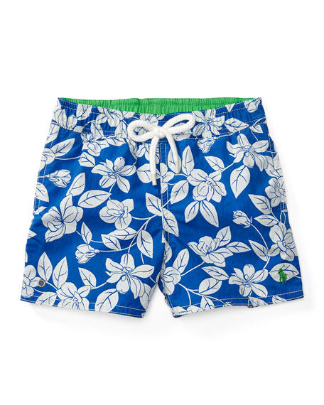 Ralph Lauren Childrenswear Floral Swim Trunks, Blue, Size