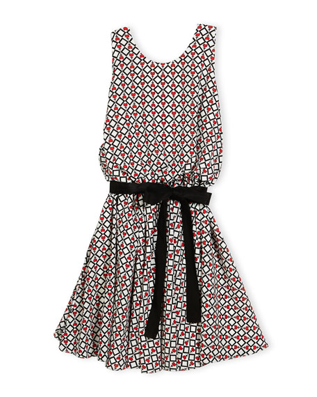 Helena Sleeveless Belted Tulip Circle Dress, Multicolor, Size