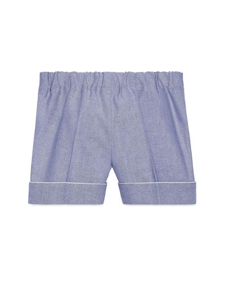 Cotton Oxford Suit Shorts, Light Blue, Size 12-36 Months