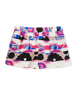 Pleated Floral Stripe Shorts, Multicolor, Size 2-7