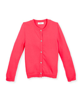 Soft Button-Front Cardigan, Pink, Size 4-7