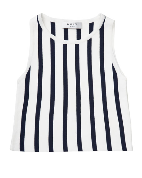 Milly Minis Sleeveless Striped Knit Shell, Blue/White, Size