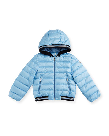 Goustan Hooded Striped-Trim Puffer Jacket, Light Blue, Size 3M-3