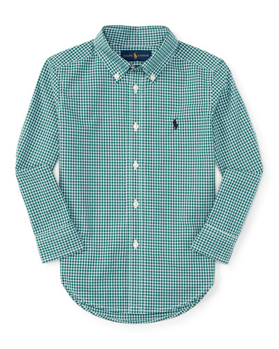 Gingham Cotton Poplin Sport Shirt, Green/White, Size 2-7