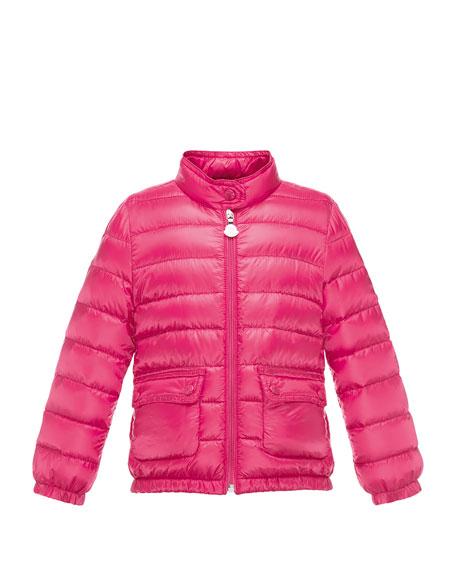 Lans Flap-Pocket Lightweight Down Puffer Jacket, Fuchsia, Size 4-6