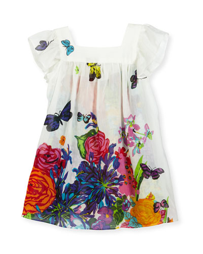 Floral Cotton & Silk Swim Coverup, Multicolor, Size 8-14